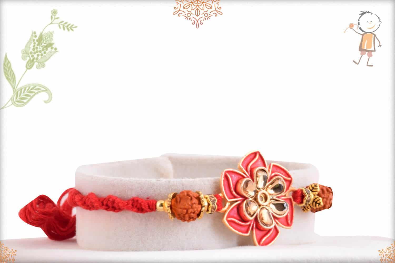 Elegant Flower Rakhi with Rudraksh 2