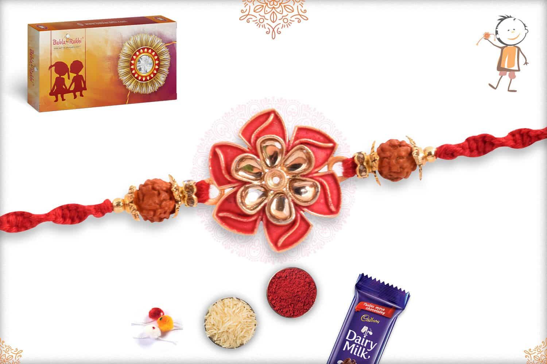 Elegant Flower Rakhi with Rudraksh 3