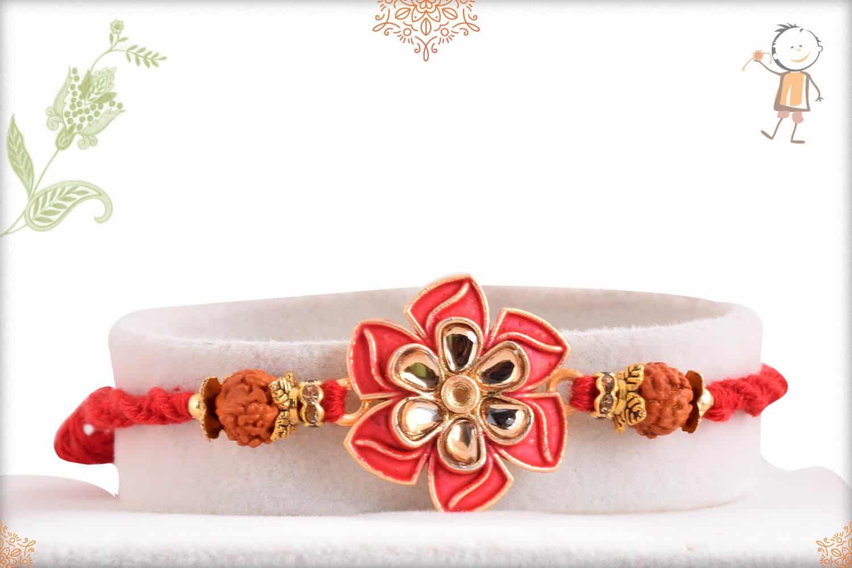 Elegant Flower Rakhi with Rudraksh 1