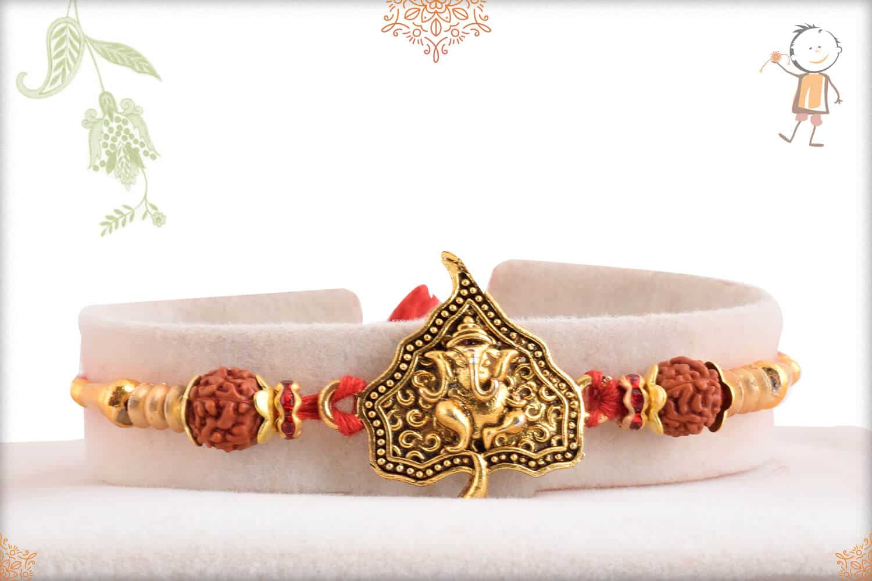 Divine Ganeshji on Leaf Rakhi 1