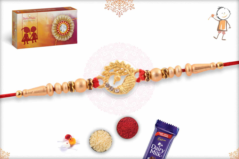 Golden Peacock Rakhi with Golden Beads 2