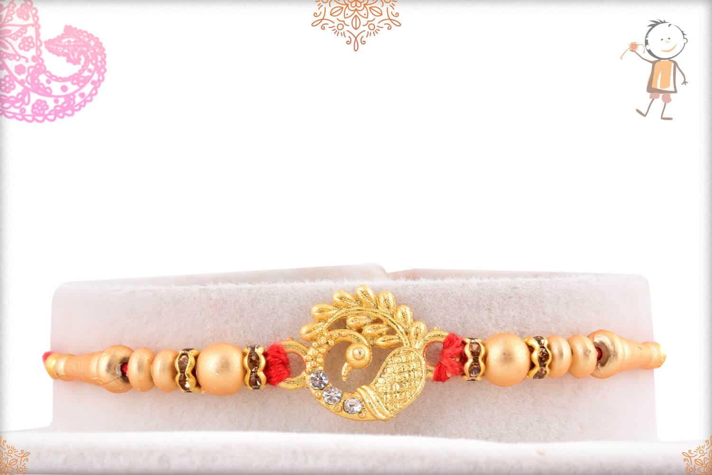 Golden Peacock Rakhi with Golden Beads 1