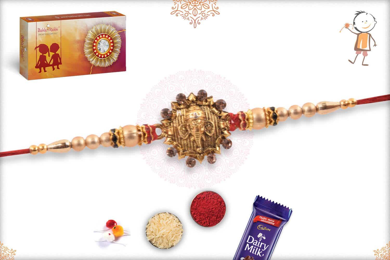 Golden Ganeshji Rakhi with Golden Beads 2