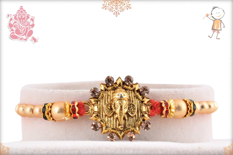 Golden Ganeshji Rakhi with Golden Beads 1