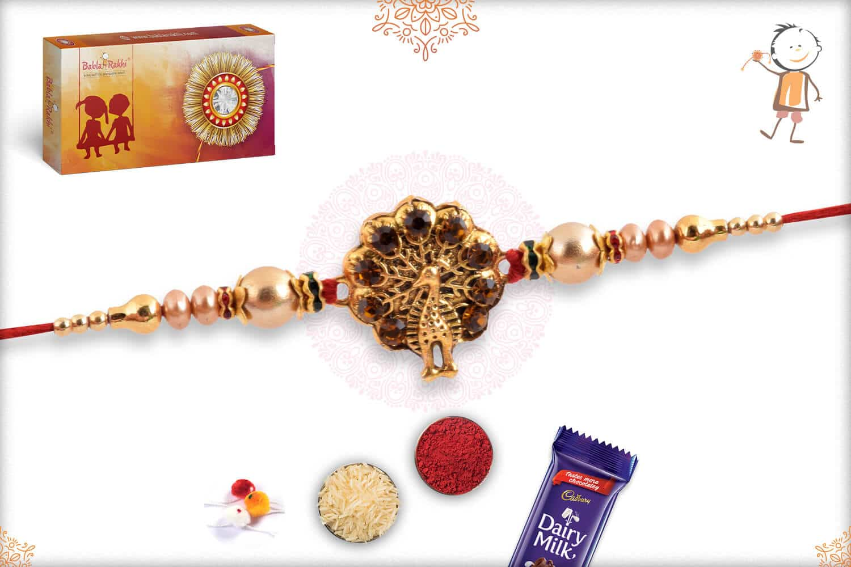 Dancing Peacock Rakhi with Golden Beads 2