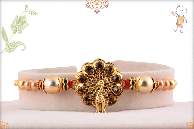Dancing Peacock Rakhi with Golden Beads 1