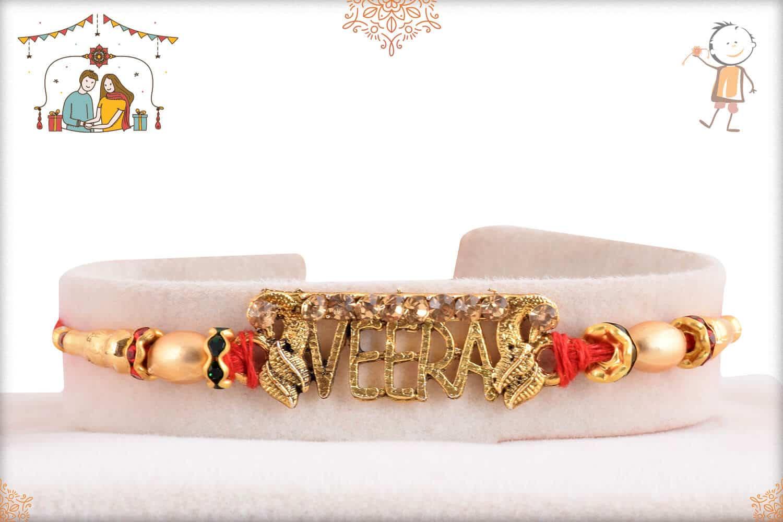 Golden Veera Rakhi with Golden Beads 1