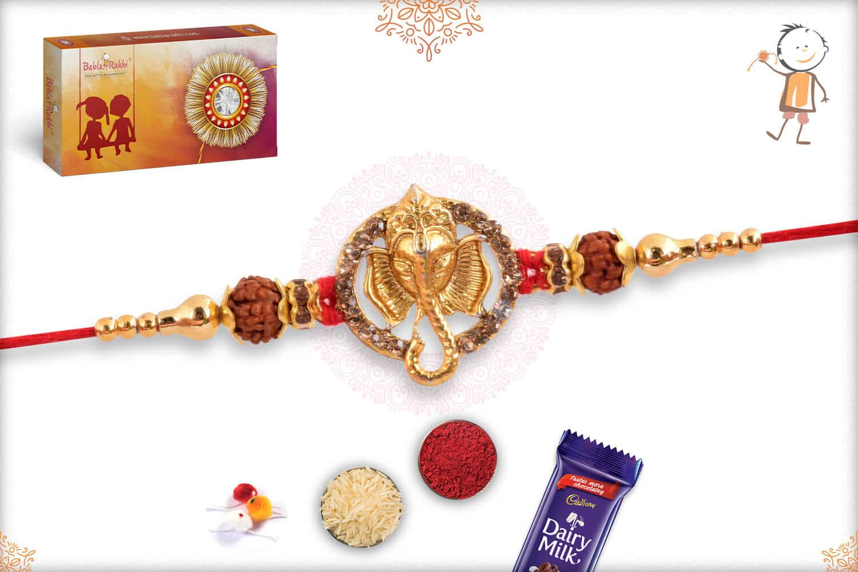 Golden Ganeshji Rakhi with Diamonds & Rudraksh 2