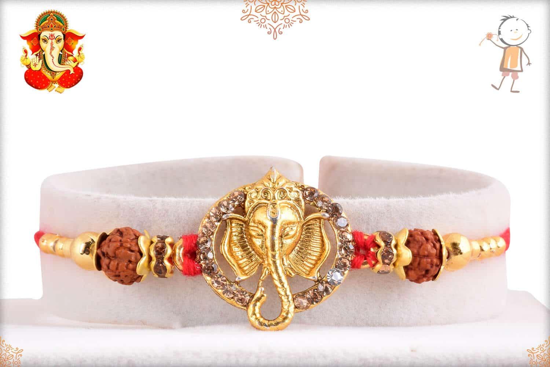 Golden Ganeshji Rakhi with Diamonds & Rudraksh 1