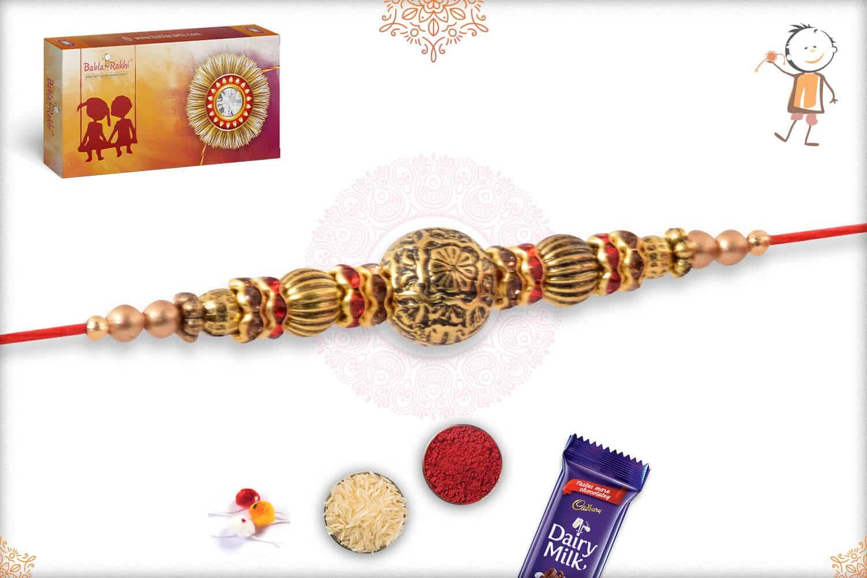 Handcrafted Golden Bead Rakhi 2