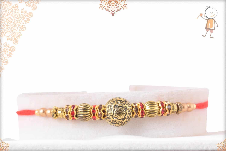 Handcrafted Golden Bead Rakhi 1