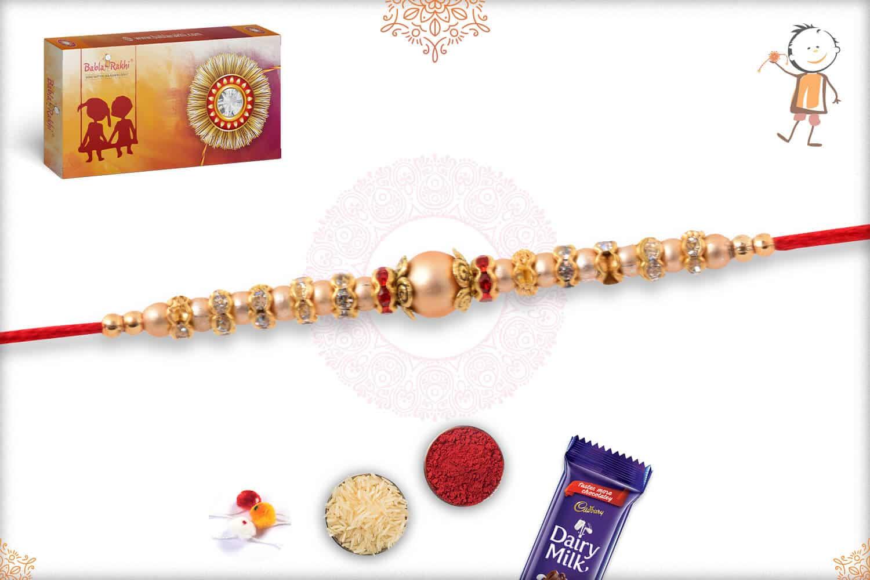 Golden Bead Rakhi with Diamond Rings 2