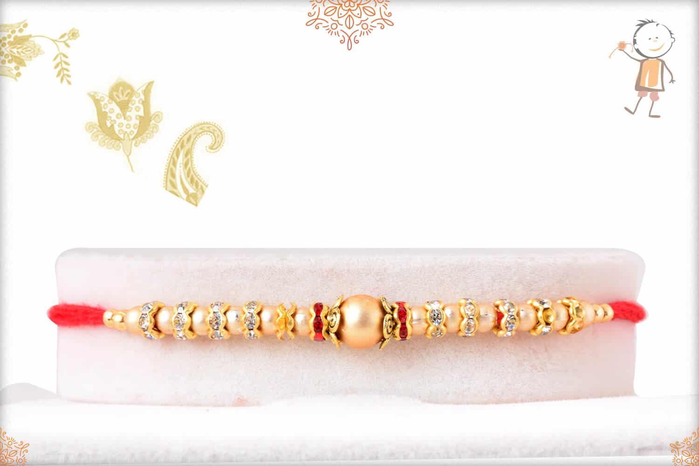Golden Bead Rakhi with Diamond Rings 1