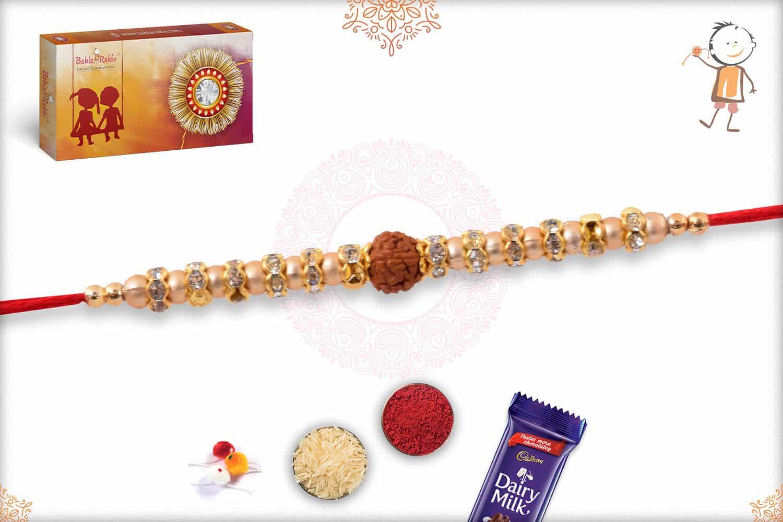 Rudraksh Golden Rakhi with Diamond Rings 2