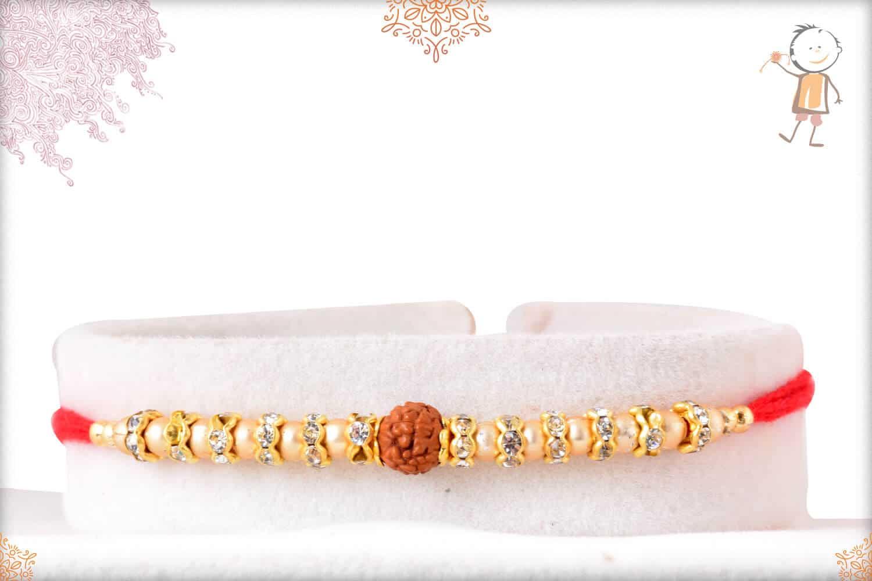 Rudraksh Golden Rakhi with Diamond Rings 1