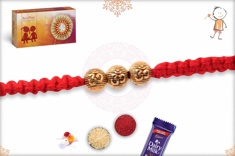 Uniquely Knotted Golden OM Bead Rakhi 2
