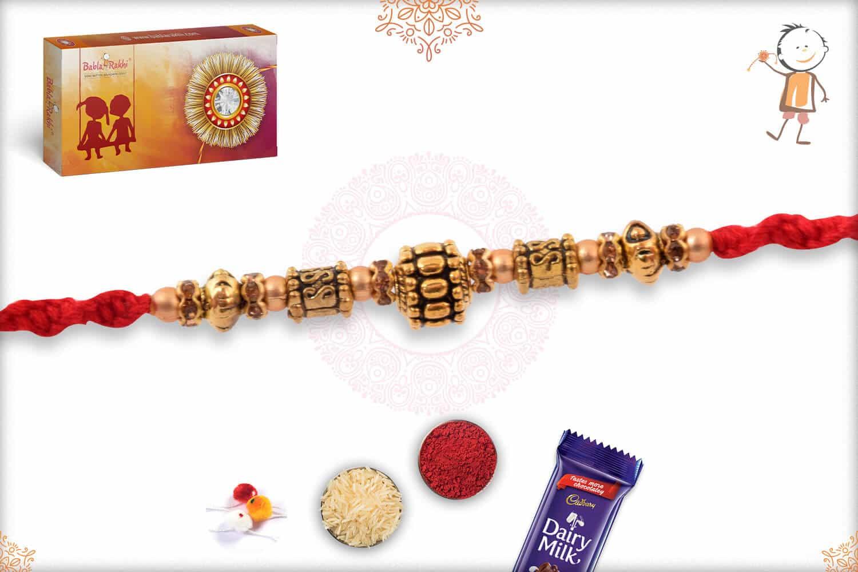 Antique Golden Bead Rakhi 3
