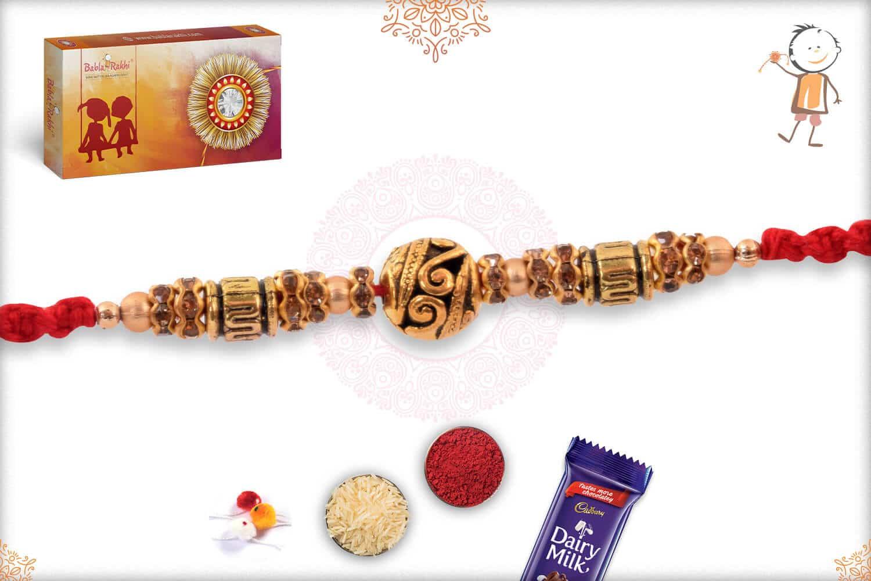 Antique Golden Bead Rakhi with Diamond Rings 3