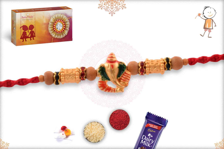 Golden Ganesh Rakhi with Sandalwood Beads 2