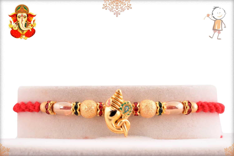 Auspicious Golden Ganesh Rakhi 1