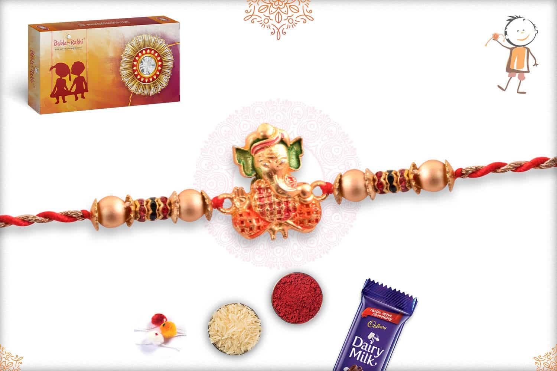 Golden Ganesh Rakhi with Diamonds 2