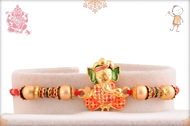 Golden Ganesh Rakhi with Diamonds 1