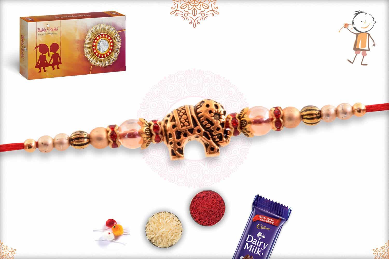 Designer Golden Elephant Rakhi 2