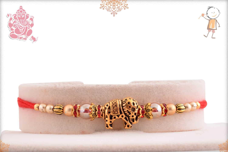 Designer Golden Elephant Rakhi 1