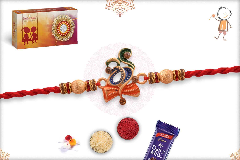 Stunning Om with Damaroo Rakhi with Golden Beads 2