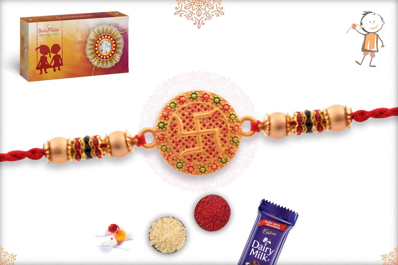 Handcrafted Golden Swastik Rakhi 2
