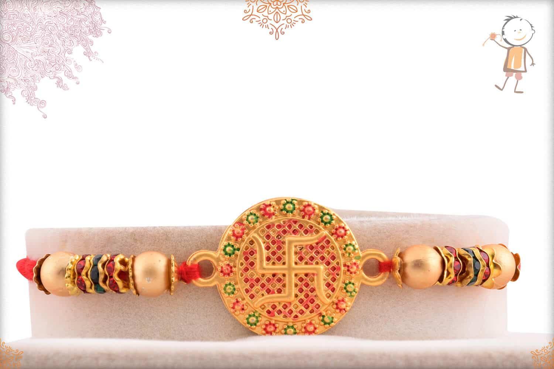Handcrafted Golden Swastik Rakhi 1