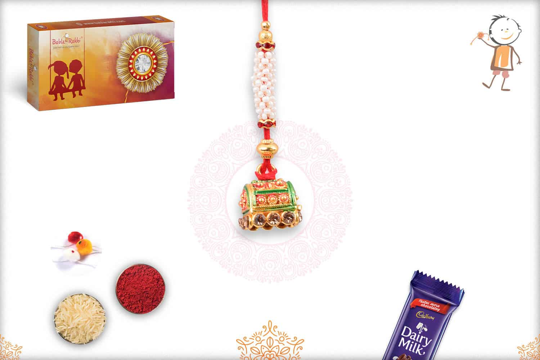 Traditional Golden Lumba Rakhi with Pearl 1