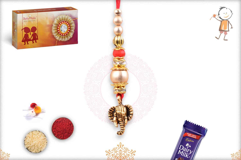 Delicate Ganeshji with Beads Lumba Rakhi 1