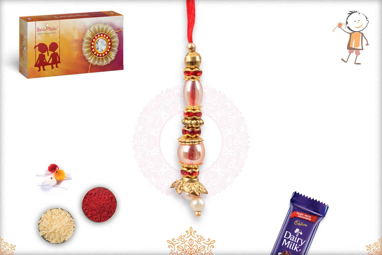 Delicate Beads and Red Diamond Lumba Rakhi 1