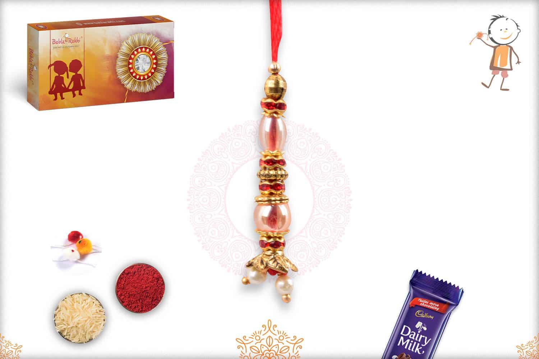 Classic Beads and Red Diamond Lumba Rakhi 1
