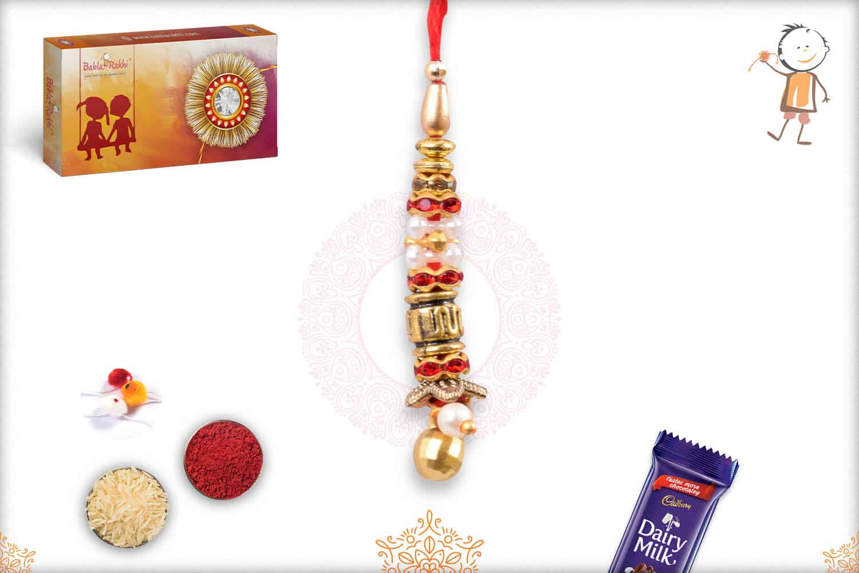 Designer Golden Beads with Diamond Lumba Rakhi 1