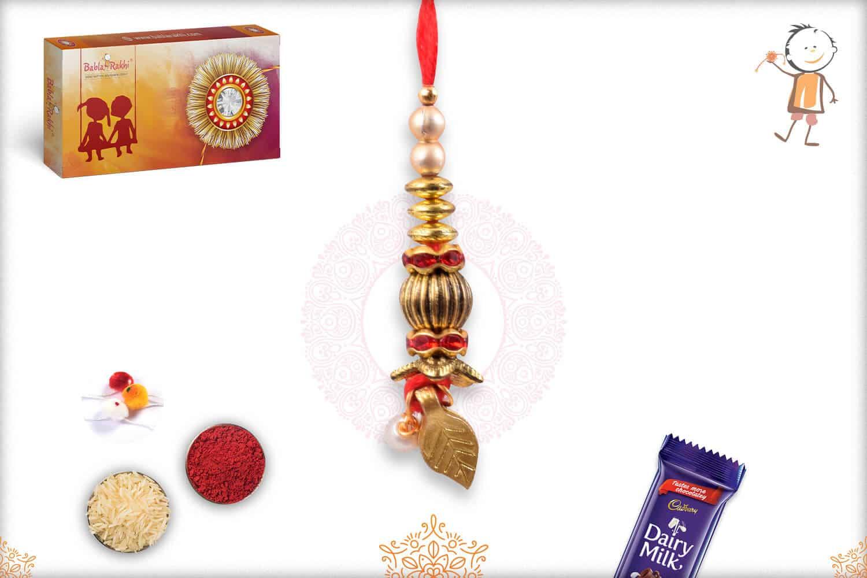 Designer Golden Beads with Leaf Lumba Rakhi 1