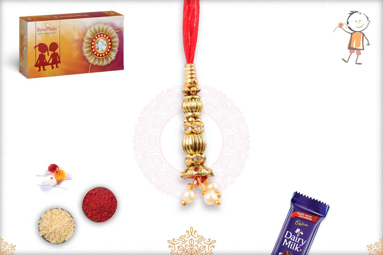 Designer Golden Bead Bhabhi Rakhi 1