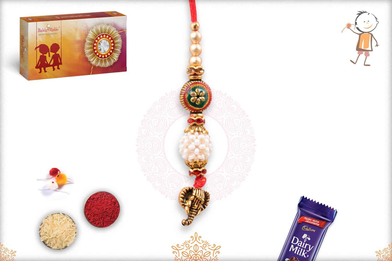 Exclusive Designer Bead with Pearl Bhabhi Rakhi 1