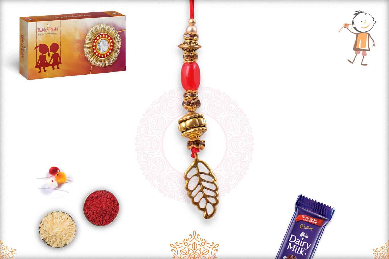 Designer Leaf and Beads Bhabhi Rakhi 1