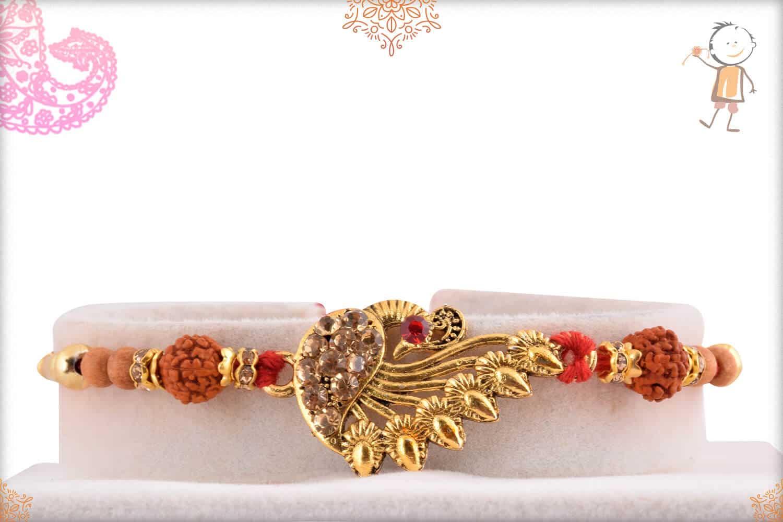 Beautiful Peacock with Diamond Rakhi 1