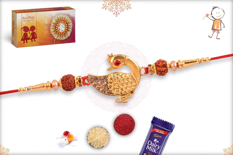 Diamond Peacock with Rudraksh Rakhi 2