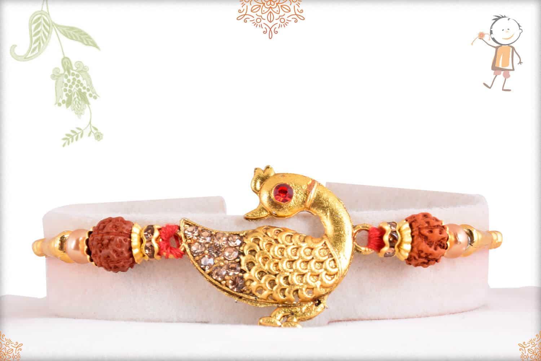 Diamond Peacock with Rudraksh Rakhi 1