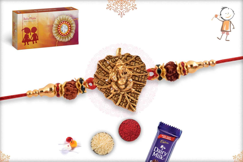 Ganeshji with Leaf and Rudraksh Rakhi 2