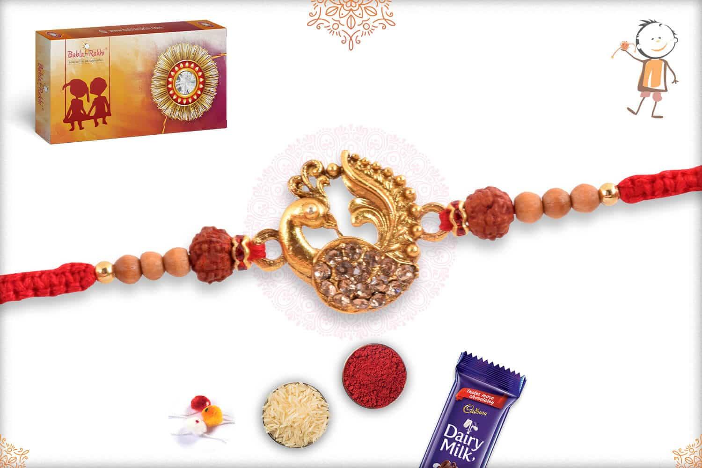 Beautiful Peacock Rakhi with Rudraksh 2