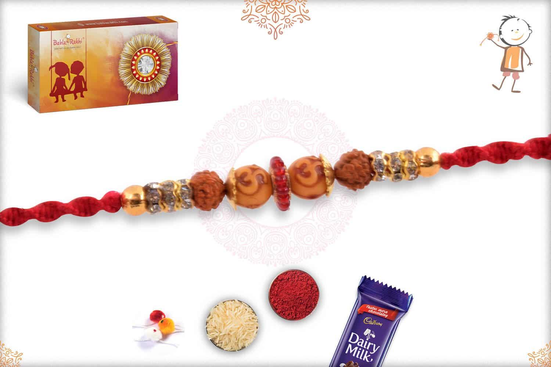 OM Bead Rakhi with Rudraksh and Diamonds 2