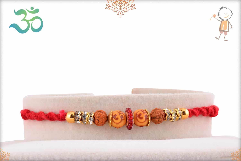 OM Bead Rakhi with Rudraksh and Diamonds 1