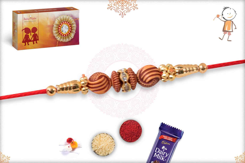 Simple Brown and Golden Beads Rakhi 2
