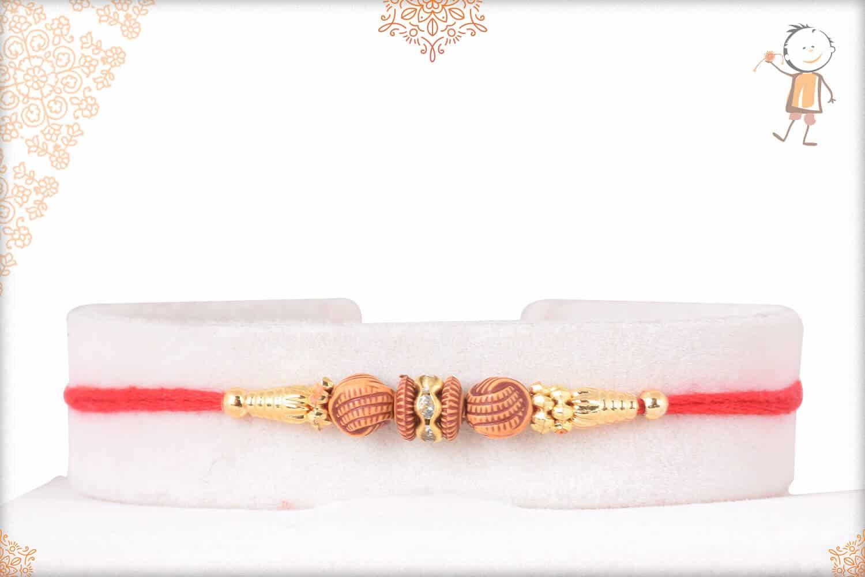 Simple Brown and Golden Beads Rakhi 1