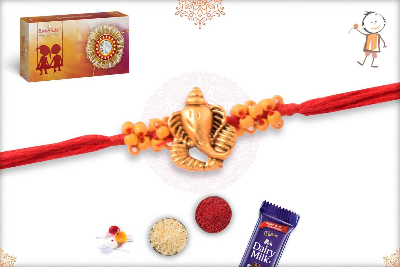 Golden Ganeshji Rakhi with Uniquely Knotted Beads 2